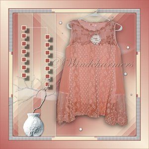 Simply Couture Pink Lace Ruffle Tunic